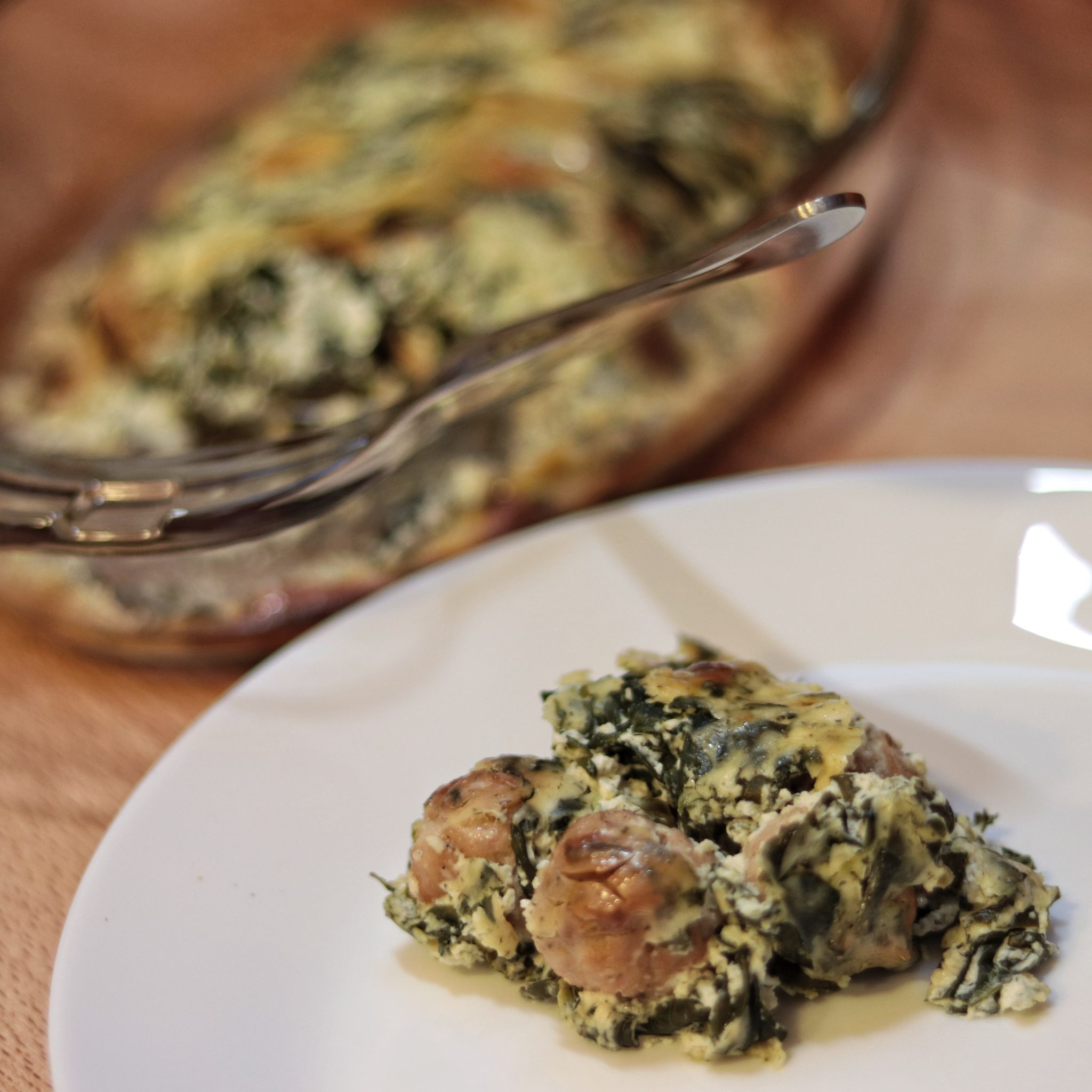 Creamy Spinach Casserole with Turkey Meatballs