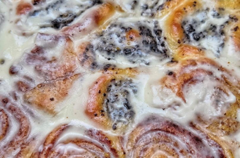 Poppy Seed Cinnamon Roll Cake